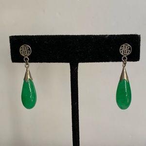Vintage Sterling Silver Green Jade Dangle Earrings